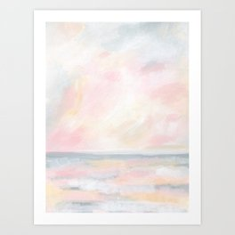 Patience - Pink and Gray Pastel Seascape Art Print