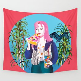 Pizza Girl Wall Tapestry