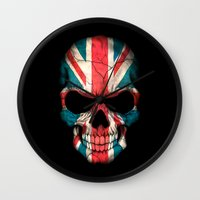british flag Wall Clocks featuring British Flag Skull on Black by Jeff Bartels