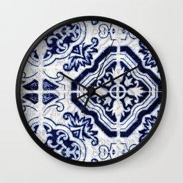 blue tile pattern VII - Azulejos, Portuguese tiles Wall Clock