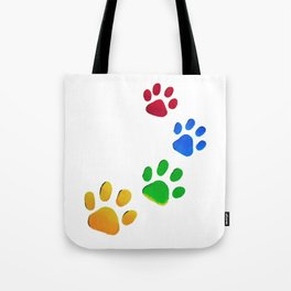 Dogs Paw Painting. Dog Lover. Red Blue Green Yellow. Paws Tote Bag