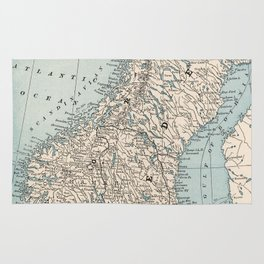 Vintage Map of Norway and Sweden (1893) Rug