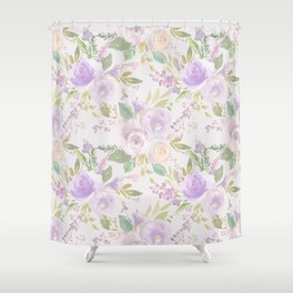 Blush lavender green watercolor hand painted floral Shower Curtain