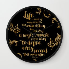 An Ember In The Ashes Quote Design in Gold Foil Wall Clock