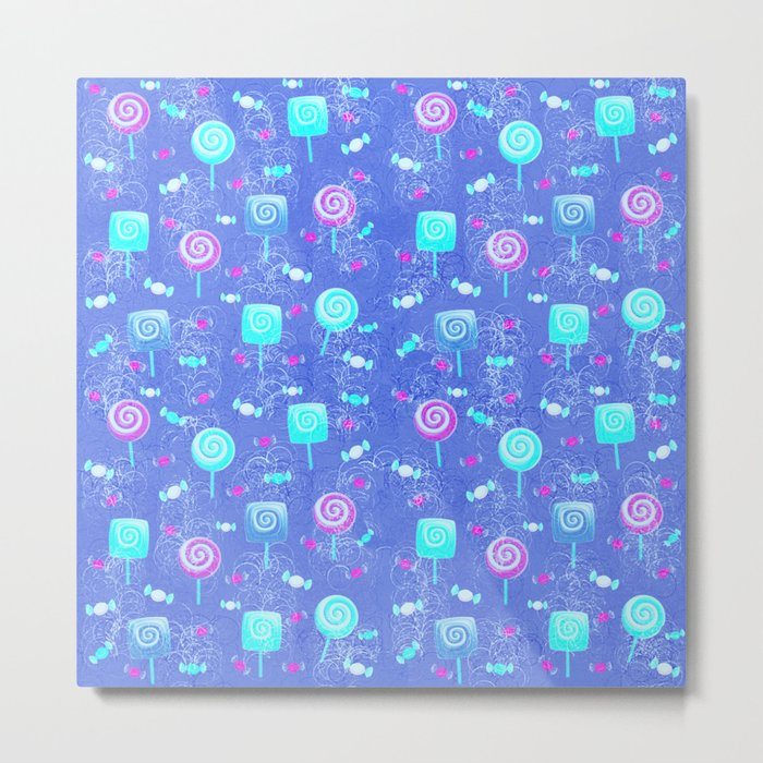 Lollipop And Candy Bright Blue Confection Metal Print
