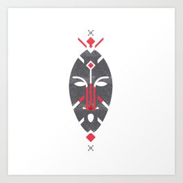 African Mask Red Art Print