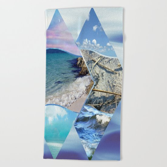 Sea, Sand and Sky Collage Beach Towel
