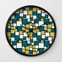 Off White, Dark Yellow and Tropical Dark Teal Inspired by Sherwin Williams 2020 Trending Color Oceanside SW6496 Funky Mosaic Pattern on Black Wall Clock