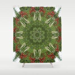 Cardinal flower and Culver's root kaleidoscope Shower Curtain