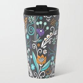 Flower circle pattern, brown Travel Mug