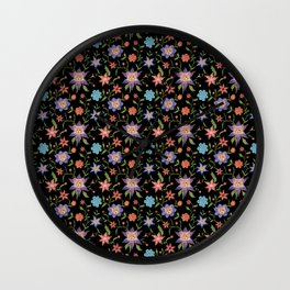 Multicolor flowers with cats Wall Clock