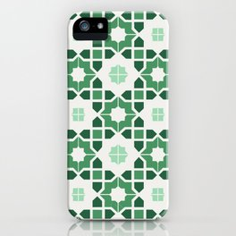 Morrocan tiles in green iPhone Case
