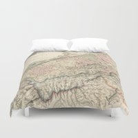 switzerland Duvet Covers featuring Vintage Switzerland Map by BaconFactory
