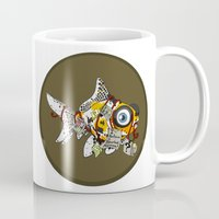 wes anderson Mugs featuring Goldfish Anderson by WhoGroovesOn