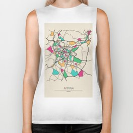 Colorful City Maps: Amman,Jordan Biker Tank