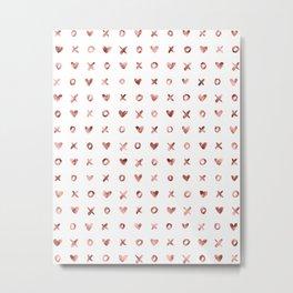 XOXO Love Me Rose Gold Pattern Metal Print