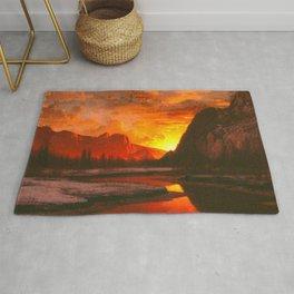 Classical Masterpiece 'Sunset in the Yosemite Valley' by Albert Bierstadt Rug