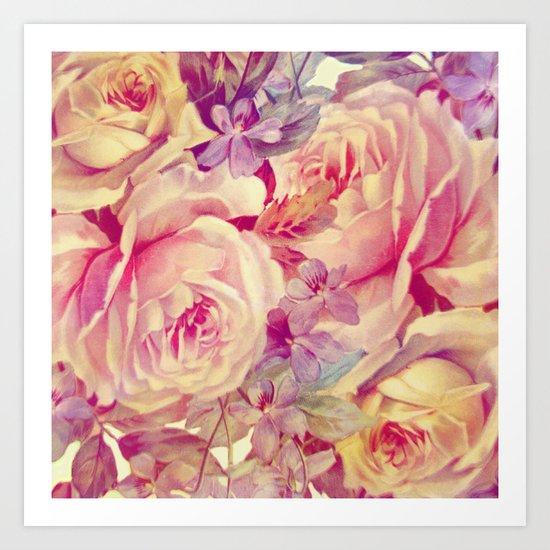 soft vintage roses Art Print
