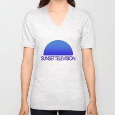 Sunset Television Logo Blue Unisex V-Neck