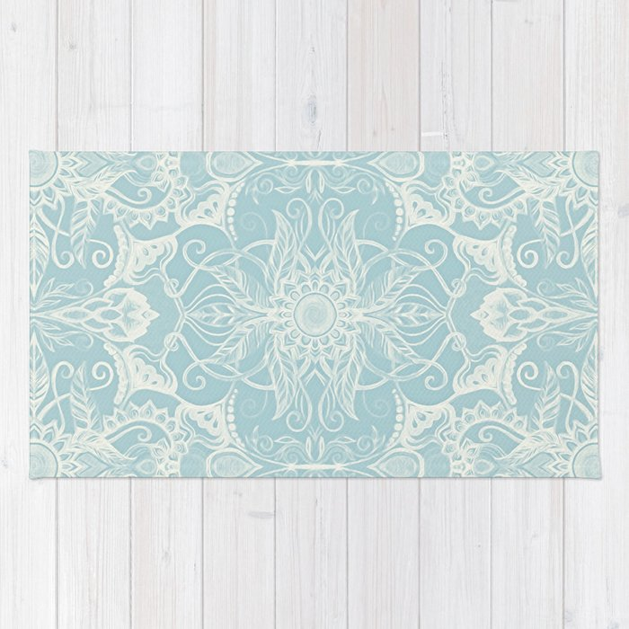 Beautiful Floral Pattern in Duck Egg Blue & Cream Rug by micklyn | Society6 GQ06