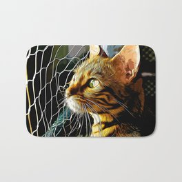 bengal cat yearns for freedom vector art Bath Mat