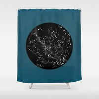 constellations Shower Curtains featuring Constellations  by Terry Fan