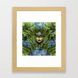 """Tropical green and indigo jungle Woman"" Framed Art Print"