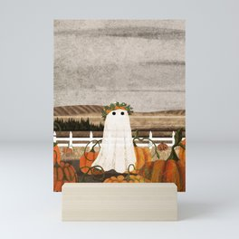 There's a Ghost in the Pumpkins Patch Again... Mini Art Print