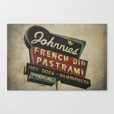 Johnnie's French Dip Pastrami Vintage/Retro Neon Sign Canvas Print