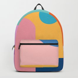 Playful Color Block Shapes in Bright Shades of Orange, Blue, Yellow, and Pink Backpack