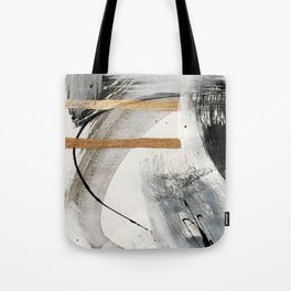 Armor [7]: a bold minimal abstract mixed media piece in gold, black and white Tote Bag