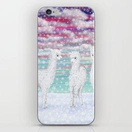 alpacas in the snow iPhone Skin
