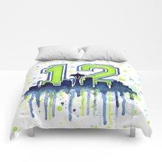 Seattle 12th Man Art Skyline Watercolor Comforters