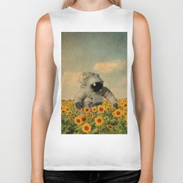 Astronaut Sunflower Art Biker Tank