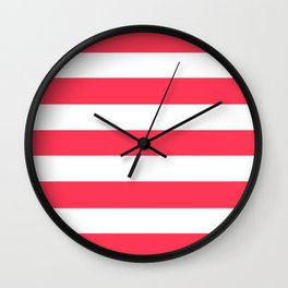 Sizzling Red - solid color - white stripes pattern Wall Clock
