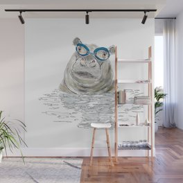 Hippo with swimming goggles Wall Mural