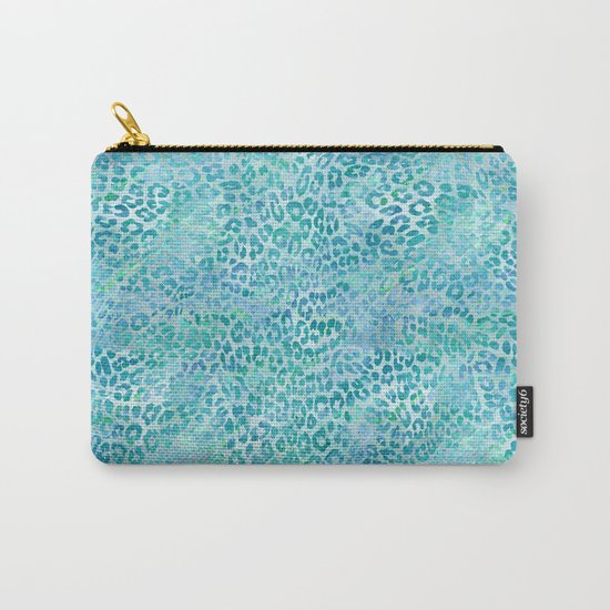 Blue Leopard Print Carry-All Pouch