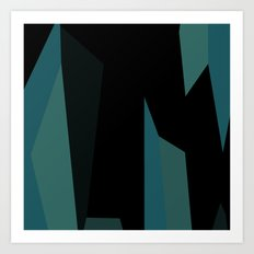 teal and black abstract Art Print