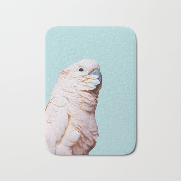 Parrot Photography | Pink Bird |  Tropical | Exotic | Turquoise Art | Blush Pink Bath Mat