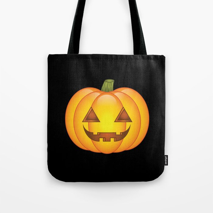Cute Orange Halloween Pumpkin Illustration Tote Bag