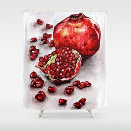 Red pomegranate watercolor art painting Shower Curtain