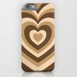 Aesthetic Hypnotic Brown Hearts iPhone Case