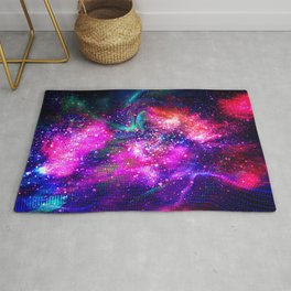 Abstract Nebula #15: Purple blue particles Rug
