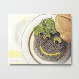 Happy Hamburger Metal Print