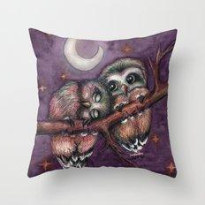 Owls in love II Throw Pillow