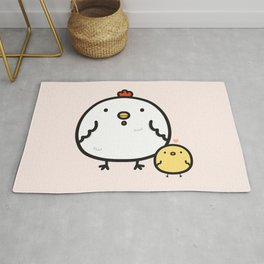 Cute chick and chicken Rug