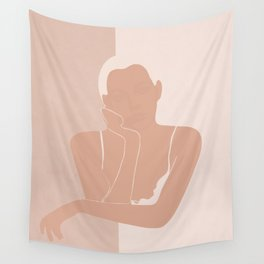 Minimal illustration of a Woman Wall Tapestry