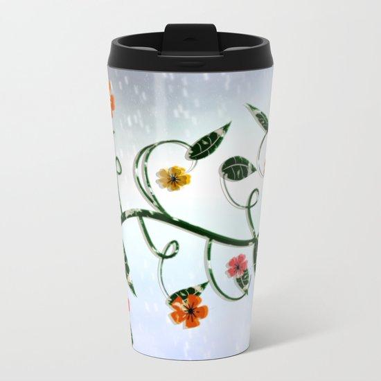 Winter Flowers Metal Travel Mug