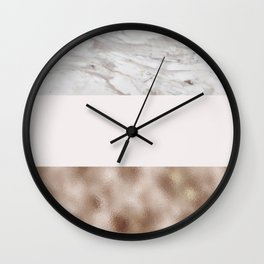 Pastel striping - taupe tones marble & rose gold Wall Clock