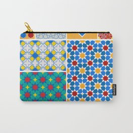Moroccan pattern, Morocco. Patchwork mosaic with traditional folk geometric ornament. Tribal orienta Carry-All Pouch